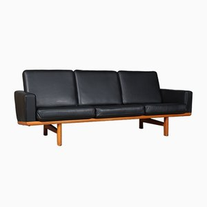 Model 236/3 Oak and Leather Sofa by Hans J. Wegner for Getama, 1960s