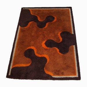 Französischer Vintage Teppich in Orange, Braun & Cremeweiß, 1960er