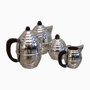 Juego de café y té estilo francés Art Déco plateado de palisandro, años 50. Juego de 4