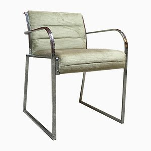 Italian Chromed Steel and Velvet Dining Chairs, 1970s, Set of 6