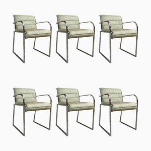 Italian Chromed Steel and Velvet Dining Chairs, 1970s, Set of 6