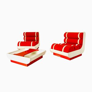 Space Age Armchair and Coffee Table Living Room Set, 1970s