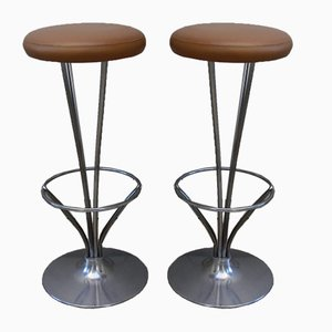 Danish Cognac Leather Bar Stools by Piet Hein for Fritz Hansen, 1960s, Set of 2