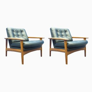 Vintage Danish Teak Leather Armchairs, 1960s, Set of 2