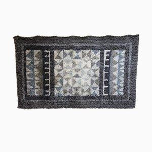 Swedish Grey and Cream Woolen Rya Carpet, 1960s