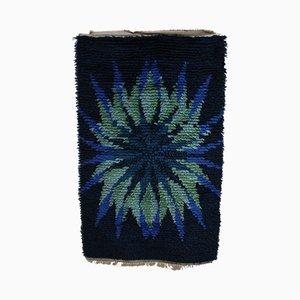 Swedish Blue and Green Rya Carpet, 1960s