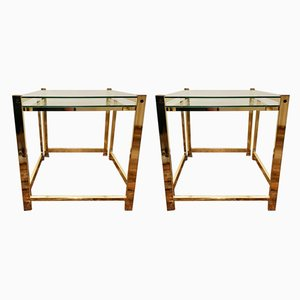 Vintage Gold-Plated Nesting Tables, Set of 2
