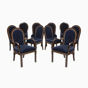 Art Deco Rosewood Dining Chairs, 1930s, Set of 10