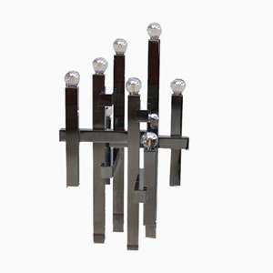 Italian Chrome-Plated Model Metric Table Lamp by Gaetano Sciolari for Sciolari, 1960s