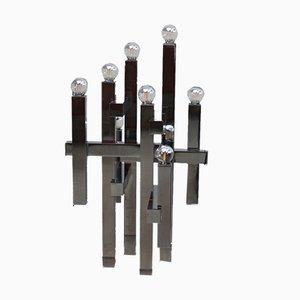 Lámpara de mesa modelo Metric italiana cromada de Gaetano Sciolari para Sciolari, años 60