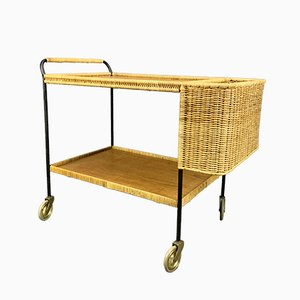 German Teak and Rattan Bar Trolley, 1960s