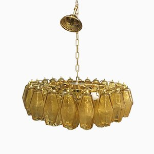 Lampadario Poliedro in vetro di Murano ambrato e dorato a 24K di Italian Light Design
