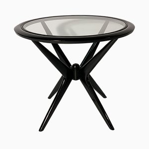 Mid-Century Italian Black Lacquered Wood and Glass Coffee Table, 1952