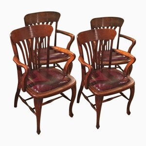 Antique Desk Chairs, Set of 4