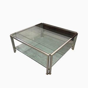 Brass and Chrome Coffee Table by Peter Ghyczy, 1980s