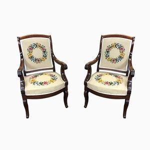Antike Louis Philippe Armlehnstühle, 2er Set