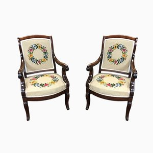 Antique Louis Philippe Style Armchairs, Set of 2