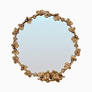 Specchio da parete in bronzo dorato di Fondica, anni '90