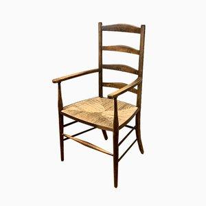 Antiker englischer Beistellstuhl im viktorianischen Stil mit Leiterlehne