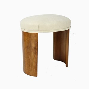 Walnut Oval Stool, 1930s