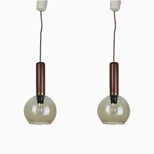 Brass Pendant Lamps, 1960s, Set of 2