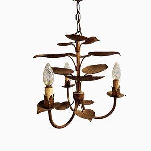 Lámpara de araña con hojas de metal dorado, años 50