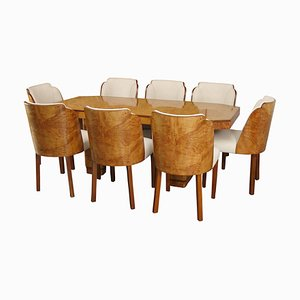 Maple and Walnut Dining Table & Cloud Dining Chairs Set from H&L Epstein, 1930s, Set of 9