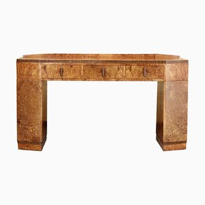 Burr Veneer, Maple, and Walnut Console Table from H & L Epstein, 1930s