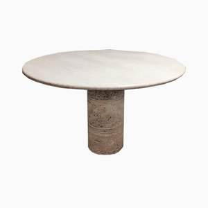 Round Italian Travertine Dining Table, 1970s