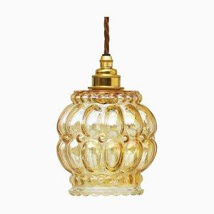 Amber Bubble Glass Pendant Lamp, 1970s