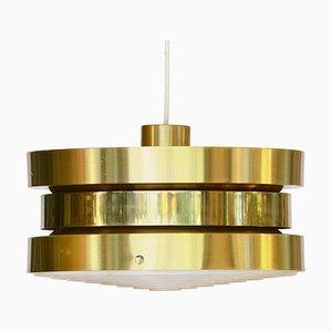 Golden Aluminum Ceiling Lamp by Carl Thore / Sigurd Lindkvist for Granhaga Metallindustri, 1970s