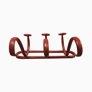 Antike rote Modell S3 Garderobe aus geformtem Holz von Thonet