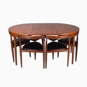 Set aus Roundette Esstisch & Stühlen von Hans Olsen für Frem Røjle, 1960er