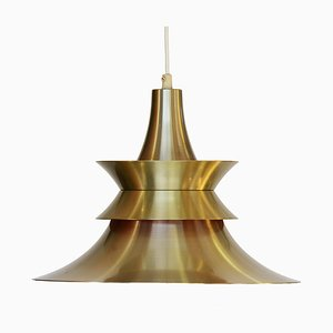 Danish Brass Colored Aluminum Pendant Lamp from Superlight, 1970s