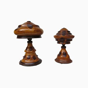 Vintage Art Deco Wooden Mushroom Table Lamps, Set of 2