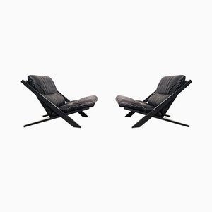 Lacquered Wood and Leather Lounge Chairs by Ubald Klug for de Sede, 1970s, Set of 2