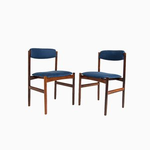 Blue Linen and Rosewood Dining Chairs, 1960s, Set of 6