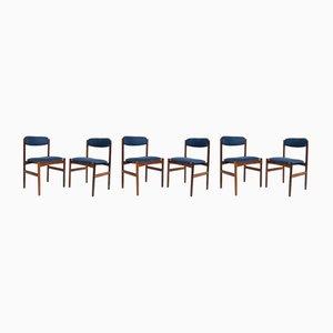 Esszimmerstühle mit blauen Leinenbezügen & Gestell aus Palisander, 1960er, 6er Set