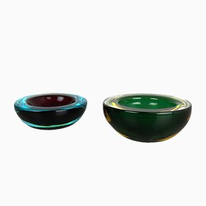 Vintage Murano Glass Sommerso Ashtray, Set of 2