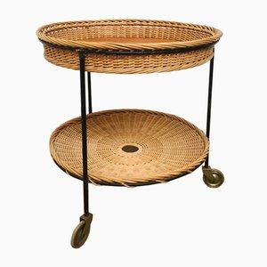 Tavolino in palissandro, metallo e vimini, anni '50