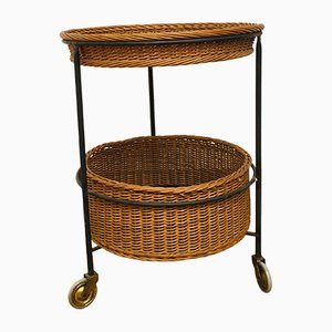 Wicker and Teak Side Table, 1950s