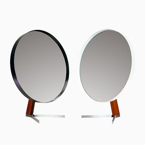 Large Mid-Century Black and White Teak Mirrors by Owen F. Thomas for Durlston Designs Ltd, Set of 2