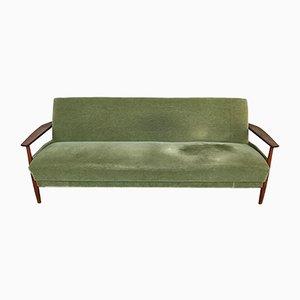 Grünes Vintage Sofa mit Gestell aus Teak im skandinavischen Stil, 1960er