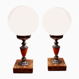 Mid-Century Metal, Opaline Glass, and Marble Table Lamp