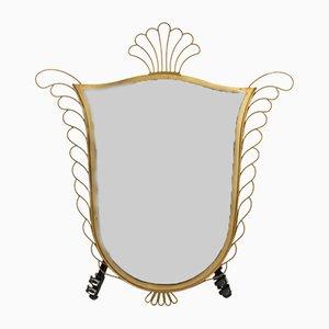 Mid-Century Spiegel mit Messingrahmen