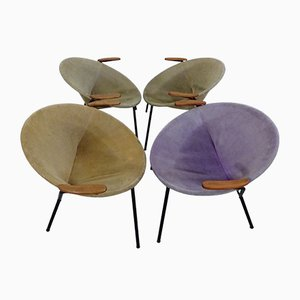 Danish Sueded Balloon Chairs by Hans Olsen for LEA Furniture, 1950s, Set of 4