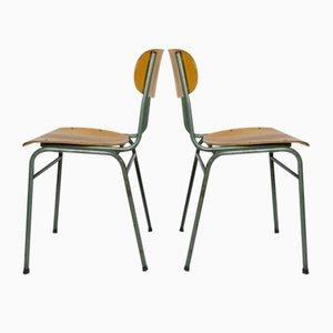 Deutsche Mid-Century Schreibtischstühle aus grünem Metall & Holz, 2er Set