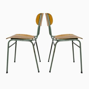 Mid-Century German Green Metal and Wood Desk Chairs, Set of 2