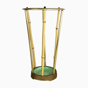 Mid-Century Metal, Brass and Bamboo Umbrella Stand