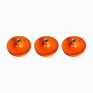 Appliques Murales Disque Mid-Century Orange par Charlotte Perriand pour Honsel, Set de 3